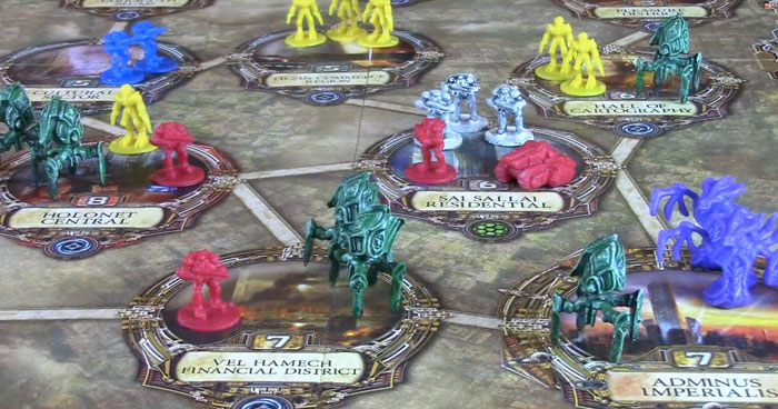 Rex board game with figures from Risk: Starcraft